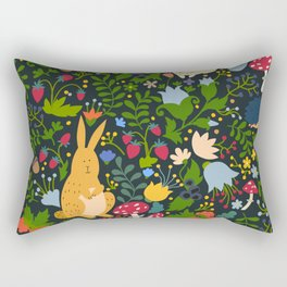 Cute animals on magic forest seamless pattern. Rabbit and hedgehog vector illustrations for baby Rectangular Pillow
