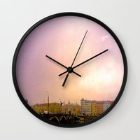 prague Wall Clocks featuring Prague by Heather Hartley