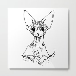 Big Eyed Pretty Wrinkly Kitty - Sphynx Cat Illustration - Nekkie - Cat Lover Gift Metal Print