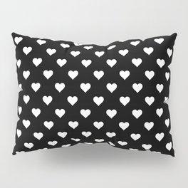 Simple Monochrome Hearts Pattern - White On Black Pillow Sham