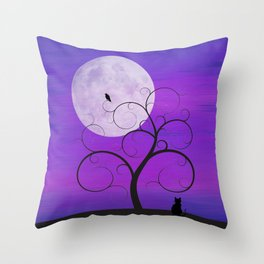 Purple Moon Cat Throw Pillow