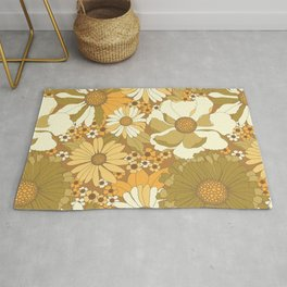 Brown, Orange, Ivory & Green Vintage Flower Pattern Rug