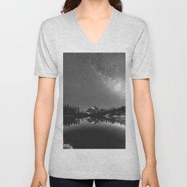 Summer Stars Black and White - Galaxy Mountain Reflection Unisex V-Neck