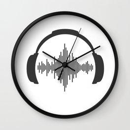 headphones sound wave beats Wall Clock