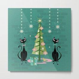 Vintage Kitty Christmas  Metal Print