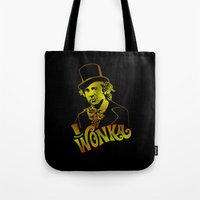 willy wonka Tote Bags featuring W gold by Buby87