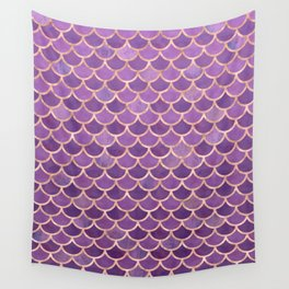 Mermaid Scales Pattern in Purple and Rose Gold Wall Tapestry