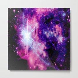 Cosmic Galaxy Purple Indigo Fuchsia Metal Print
