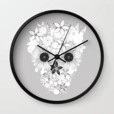 Skull Flowers white - grey Wall Clock