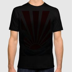 Great Wave of the Rising Sun Black LARGE Mens Fitted Tee