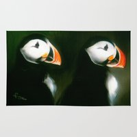 puffin Area & Throw Rugs featuring PUFFIN PARADE by FOXART  - JAY PATRICK FOX