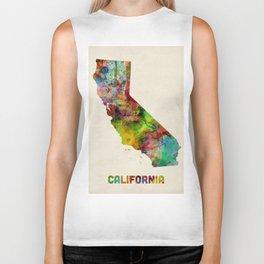 California Watercolor Map Biker Tank