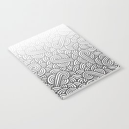 Gradient black and white swirls doodles Notebook
