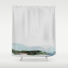 Mountain Vista with Big Sky and River, Winterscape Shower Curtain