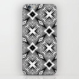 Black and White - Woodcut Etching Cross Geometric iPhone Skin