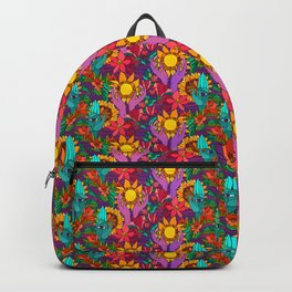 Pattern with sunflowers, magnolia, gladiolus and human hands Backpack