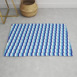 Staggered Oblong Rounded Lines Blues and White - Stripe Pattern Rug