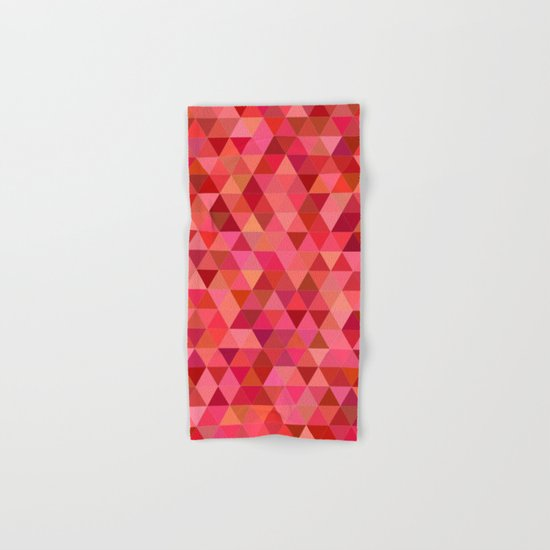 Red triangle tiles Hand & Bath Towel
