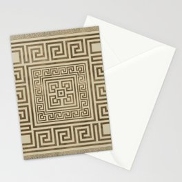 Greek Key Ornament - Greek Meander - Pastel Gold Stationery Cards