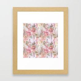 Modern blush pink ivory botanical watercolor floral Framed Art Print
