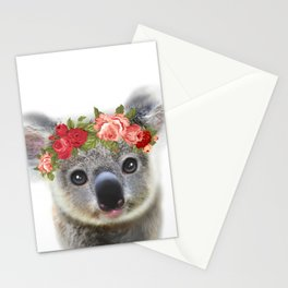 Cute Baby Animal Koala bear with Flower Crown Stationery Cards