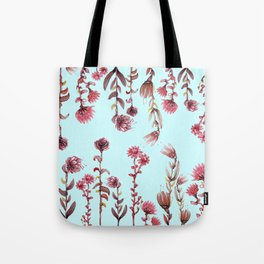 flowers on blue Tote Bag