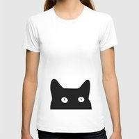 fabric T-shirts featuring Black Cat by Good Sense
