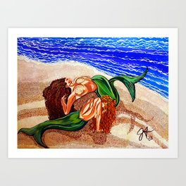 Mermaids Spent Lovers Beach Ocean Shells Sea Sand Waves Nude Women Red Head Passion Couple Art Print