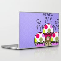 polkadot Laptop & iPad Skins featuring Cute Monster With Pink And Purple Polkadot Cupcakes by Mydeas