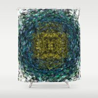 geode Shower Curtains featuring Geode Abstract 01 by Charma Rose