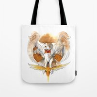 hedwig Tote Bags featuring Potter Hedwig Owl by Rubis Firenos