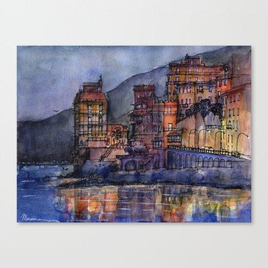 Palazzi sul mare al crepuscolo Canvas Print