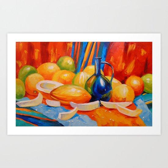 Still life with melon Art Print
