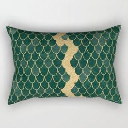 Mermaid Fin Gold Streak // Emerald Green Glittery Scale Watercolor Gradient Bedspread Home Decor Rectangular Pillow