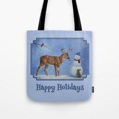 Christmas Deer Eating Snowman Carrot Nose Tote Bag