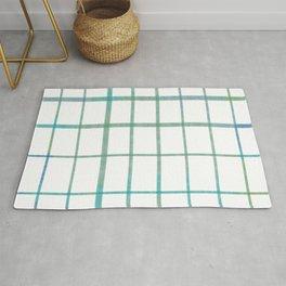 Green grid minimalist pattern Rug