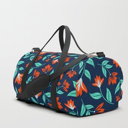 Japanese Floral Print - Red and Navy Blue Duffle Bag