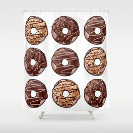 Chocolate Donuts Pattern Shower Curtain