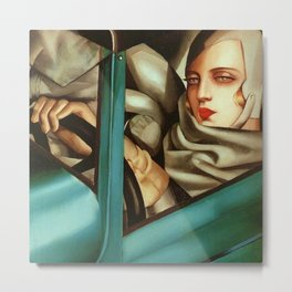 Classical Masterpiece 'My Portrait - Self-Portrait in the Green Bugattis by Tamara de Lempicka Metal Print