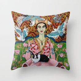 G Girl with Bunny Throw Pillow