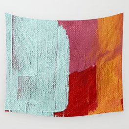 Desert Daydreams [2]: a vibrant, colorful abstract acrylic piece in pink, red, orange, and blue Wall Tapestry