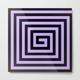 Graphic Geometric Pattern Minimal 2 Tone Big Swirl Zig-Zag (Lavender Purple & Black) Metal Print