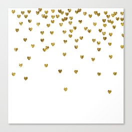 Gold Hearts Canvas Print