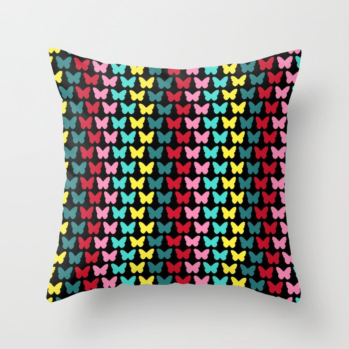 Happy Butterflies on Black Throw Pillow