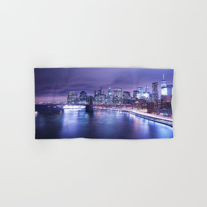 New York City Night Lights : Periwinkle Blue Hand & Bath Towel