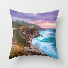 Big Sur Bixby Bridge Adventure Throw Pillow