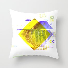 GLITCH NATURE #64: Seeding sunflower Throw Pillow