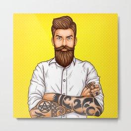 brutal bearded man, macho with tatoo Metal Print