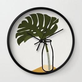 Monstera deliciosa in a Bottle Wall Clock