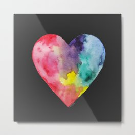 #LoveWins Watercolor Painting (Black) Metal Print